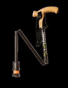 black folding cork handle walking stick