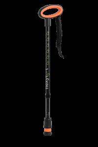black telescopic oval handle walking stick